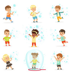 Cute little girls and boys blowing and playing vector