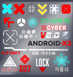 Cyberpunk style elements color vector