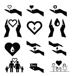 Donate set symbol in black and white color vector