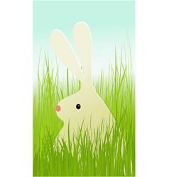 easter rabbit in grass vector image