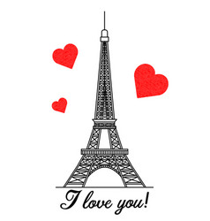 eiffel tower with red hearts vector image