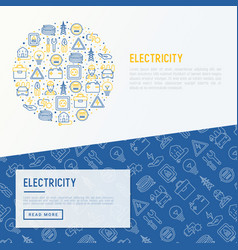 Electricity concept in circle with thin line icons vector