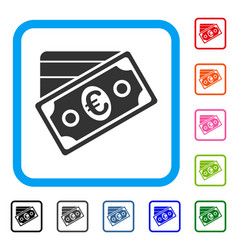 euro money credit card framed icon vector image