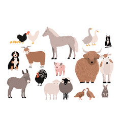 Farm pets colorful collection cute domestic vector