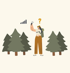 Female character get lost in forest woman vector