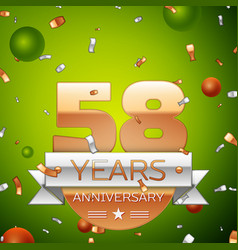 fifty eight years anniversary celebration design vector image