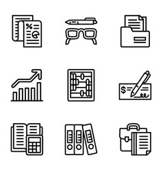 finance icon set outline style vector image