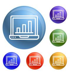 finance laptop icons set vector image