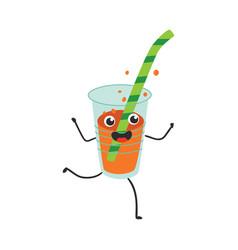 fizzy soda in plastic cup vector image