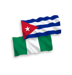 Flags cuba and nigeria on a white background vector