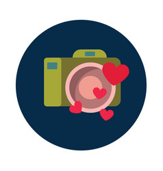 flat camera with heart on white background vector image
