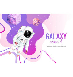 Galaxy frame design with astronaut neptune vector