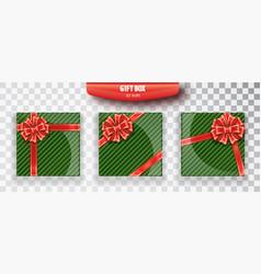 gift box set of green christmas gift boxes vector image