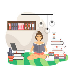 girl reading book at home flat vector image