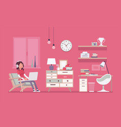 girl room interior design vector image