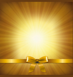 golden sunburst with golden ribbon and bow vector image