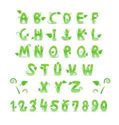 green floral alphabet and numbers vector image