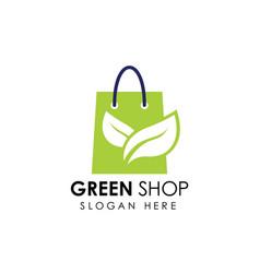 Green shop logo icon design shopping bag icon vector
