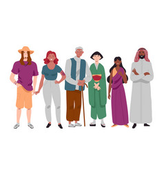 Group diverse multi-ethnic people standing vector