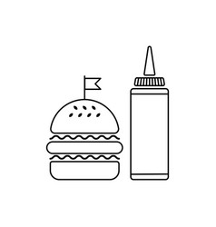 hamburger with sauce bottle vector image