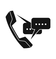 Handset with speech bubbles icon simple style vector