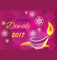 happy diwali festival of lights 2017 banner vector image