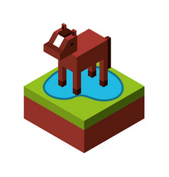 horse with ground isometric isolated icon vector image