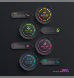 Infographics circle paper with 4 data vertical vector