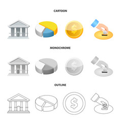 isolated object of bank and money sign set of vector image