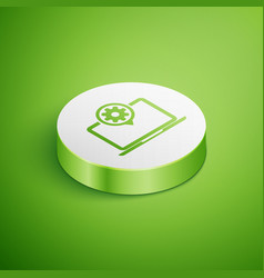 isometric laptop and gear icon isolated on green vector image