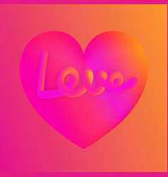 love lettering on pink heart colorful neon figures vector image