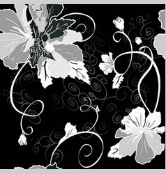 mallow flower seamless set black vector image
