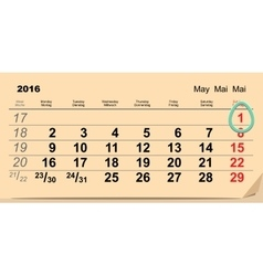 May 1 2016 Orthodox Easter Calendar egg vector image