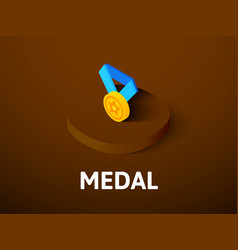 medal isometric icon isolated on color background vector image