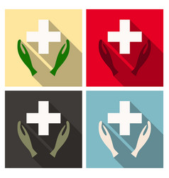 Medical distribution care hands flat pictograph vector