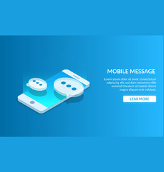mobile messenger communication using a smartphone vector image