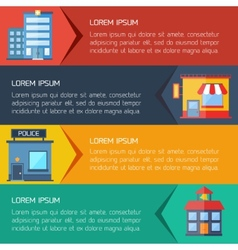Modern flat city background infographics with text vector image