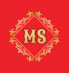 monogram ms letters - concept logo template design vector image