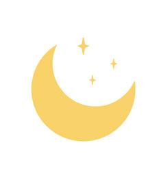moon crescent star yellow symbol islam vector image