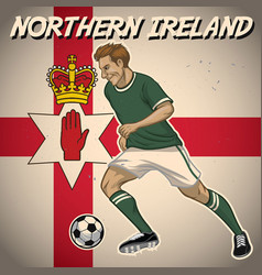northern ireland soccer player with flag vector image