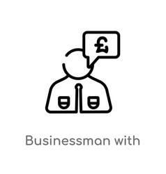 Outline businessman with pounds message in a vector
