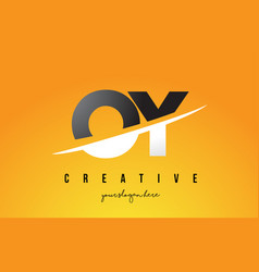 Oy o y letter modern logo design with yellow vector