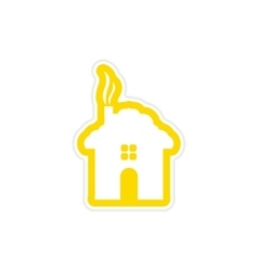 Paper sticker on white background house snow vector
