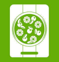 pizza with pineapple and basil on board icon green vector image