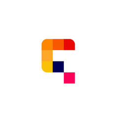 q letter pixel digital logo icon vector image