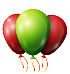 Realistic green red balloons with ribbons vector
