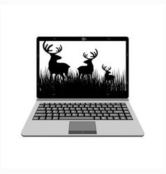 realistic laptop display deer wild life video vector image