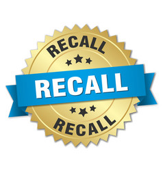 Recall round isolated gold badge vector