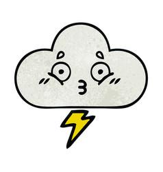 Retro grunge texture cartoon thunder cloud vector