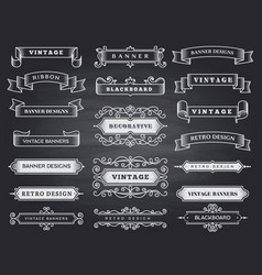Retro horizontal banners ribbon flourish ornate vector